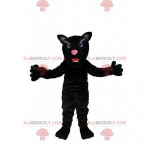 Maskot černý panter s krásnými modrými očima - Redbrokoly.com