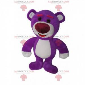 Příliš roztomilý maskot fialového medvídka. Kostým medvídka -