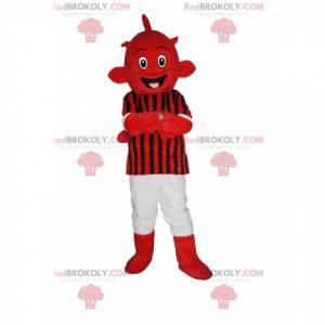 Red alien mascot in red and black sportswear - Redbrokoly.com
