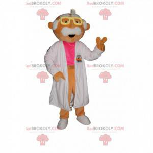 Mustached scientist mascot with a white coat - Redbrokoly.com