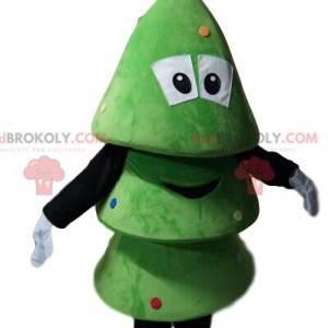 Mascot small green tree smiling. Christmas tree costume -