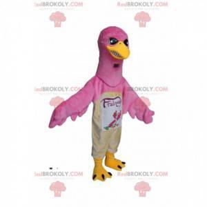 Maskot růžového orla s intenzivním vzhledem. Kostým růžového