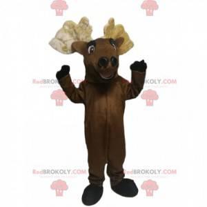 Velmi veselý maskot hnědého jelena s krásným parohem -