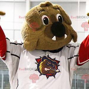 Mascote bulldog marrom em roupas esportivas - Redbrokoly.com