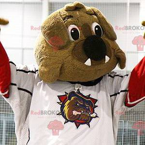 Mascotte bulldog marrone in abiti sportivi - Redbrokoly.com