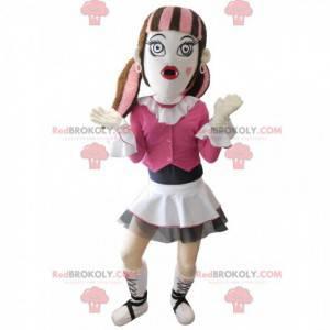 Gotisk jente maskot kledd i rosa - Redbrokoly.com