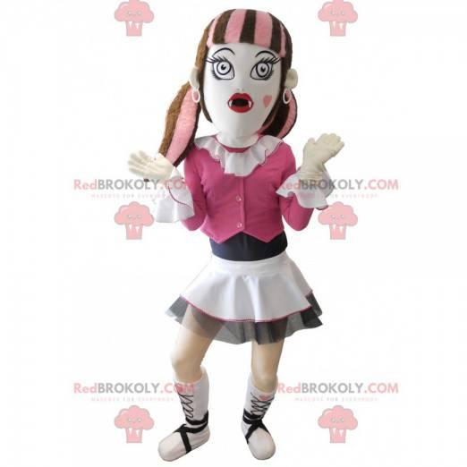 Gotická dívka maskot oblečený v růžové - Redbrokoly.com