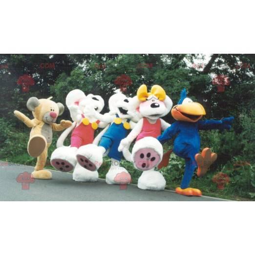 5 Diddl-mascottes met zijn vriendin en zijn vrienden -