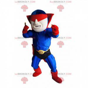 Mascote do super-herói mascarado em azul e vermelho -