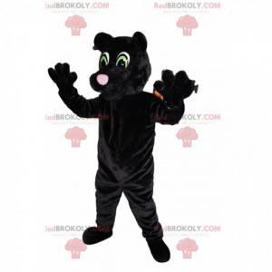 Schwarzes Panthermaskottchen mit schönen grünen Augen -