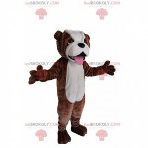 Brun og hvit oksehundmaskot. Bull hund kostyme - Redbrokoly.com