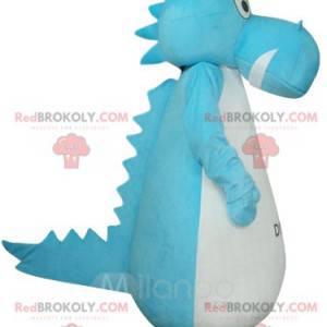 Mascote de dinossauro azul e branco. Fantasia de dinossauro -