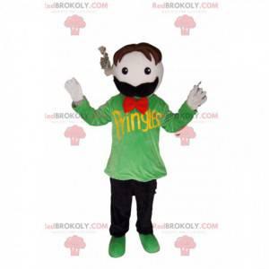 Maskottchen Schnurrbart Mann mit einem grünen T-Shirt -