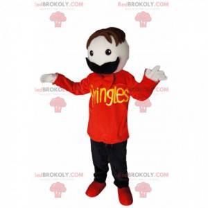 Maskottchen Schnurrbart Mann mit einem roten T-Shirt -