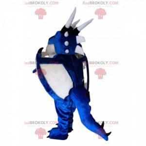 Mascota del dragón azul y blanco. Traje de dragón -