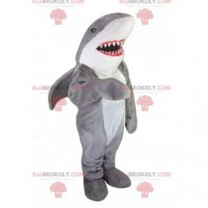 Maskot šedý a bílý žralok s velkými zuby - Redbrokoly.com