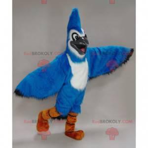 Niebiesko-biała maskotka sójka - Maskotka niebieski ptak -