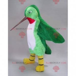 Hummingbird mascot green white and red with a long beak -