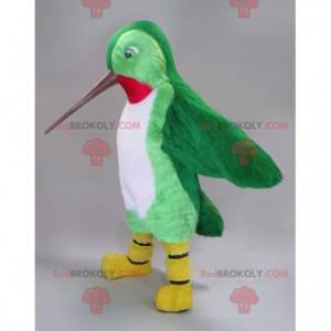 Hummingbird maskot grønn hvit og rød med langt nebb -