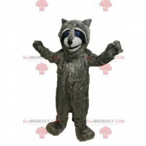 Grijze wasbeer mascotte met mooie blauwe ogen! - Redbrokoly.com