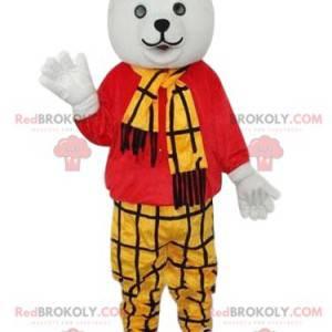 Maskot ledního medvěda se žlutým kostkovaným oblečením -
