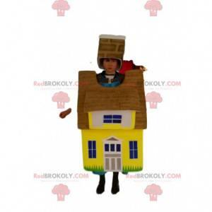 Žlutý a hnědý maskot domu. Bytový oblek - Redbrokoly.com
