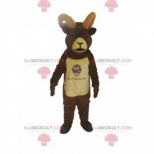Mascotte di camoscio marrone con grandi corna - Redbrokoly.com