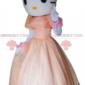 Mascotte Hello Kitty, il gatto bianco con un vestito rosa -