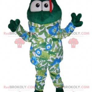 Kikker mascotte met een badpak en een snorkel - Redbrokoly.com