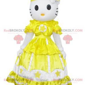 Maskot Hello Kitty, slavná kočka se žlutými šaty -