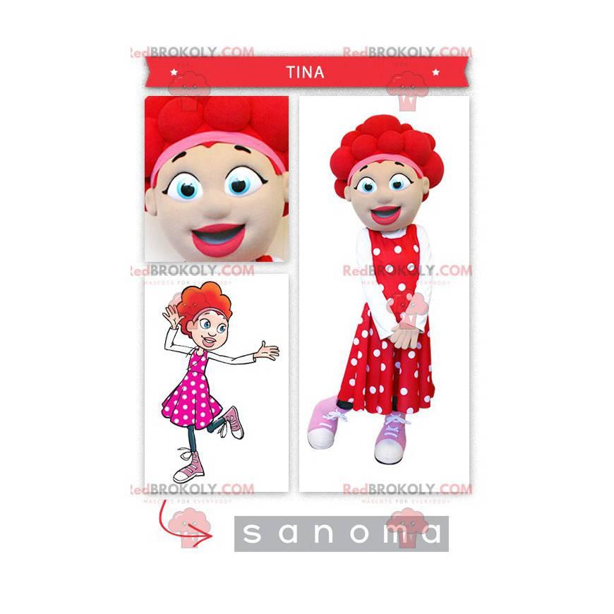 Dívka maskot s červenými vlasy - Redbrokoly.com