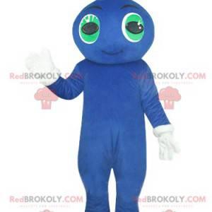 Maskot modrý sněhulák s úsměvem se zelenýma očima -