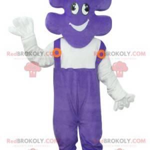Mascot puzzle piece with purple overalls - Redbrokoly.com