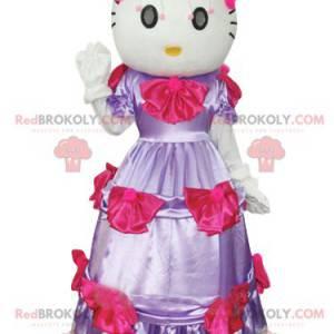 Hello Kitty maskot, slavná kočka s fialovými šaty -