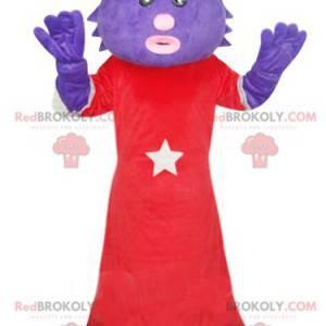 Maskot lilla katt med rød kjole. Fitte kostyme - Redbrokoly.com