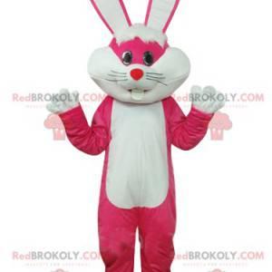Mascotte fucsia e coniglio bianco con grandi orecchie! -