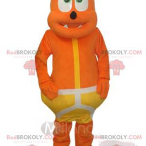 Funny orange bear mascot with a yellow costume - Redbrokoly.com