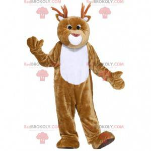 Giant brown and white reindeer mascot - Redbrokoly.com