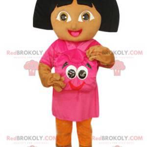 Mascote Dora the Explorer com sua mochila fúcsia -