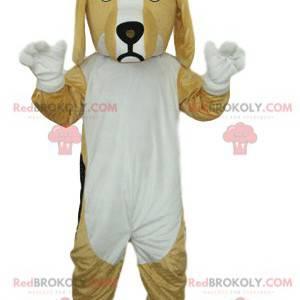 Beige and white dog mascot. Dog costume - Redbrokoly.com