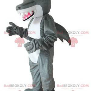 Mascotte squalo grigio e bianco, con grandi denti -