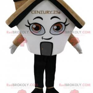Kremowa i biała maskotka dom z kominkiem - Redbrokoly.com