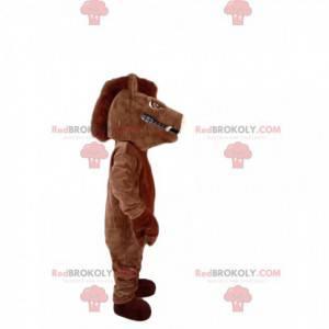 Mascota de jabalí marrón muy agresiva. Disfraz de jabalí. -