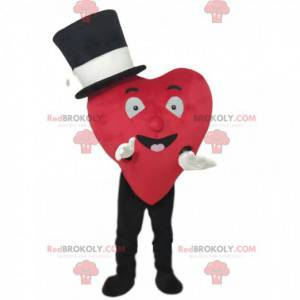 Red heart mascot smiling with a black hat - Redbrokoly.com