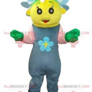 Mascota personaje amarillo con una corona de flores azul -
