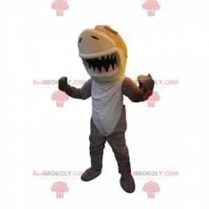 Tubarão de mascote bege e branco. Fantasia de tubarão -