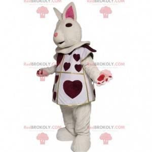 Bílý králík maskot s vínové srdce. Bunny kostým - Redbrokoly.com