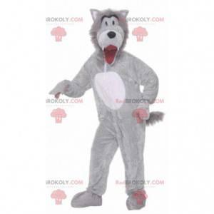 Fully customizable gray and white wolf mascot - Redbrokoly.com