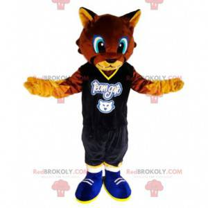 Brown cat mascot with a supporter jersey - Redbrokoly.com