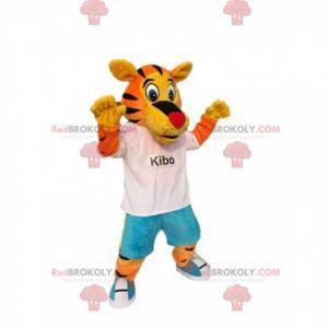 Lustiges Tigermaskottchen, mit Blue Jeans und einem weißen